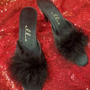 Black Ellie frou frou feathered kitten heels.